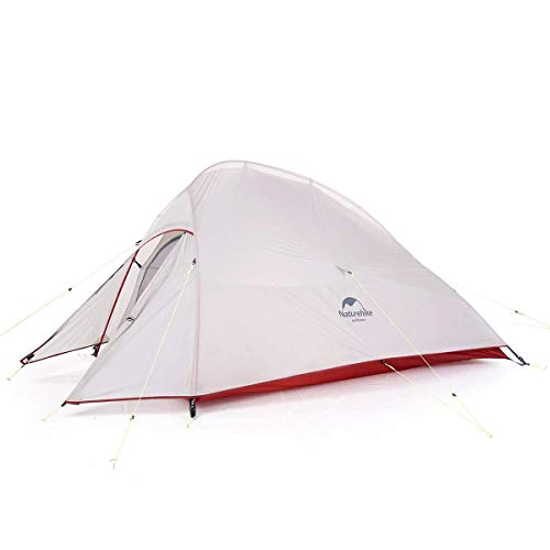 Naturehike Cloud Up Free Standing 2 Person Backpacking Tent Ultralight Nylon Doulbe Layer Camping Tents for Two Person (gray-20D Nylon)