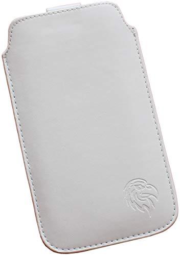 Dealbude24 Schutz Tasche für Samsung Galaxy A51, Pull tab Hülle Handy herausziehbar, dünnes Etui genäht mit Rausziehband, innen weiches Microfaser mit exklusiv Adler Motiv XXL Weiss