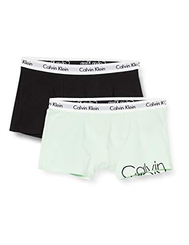 Calvin Klein 2pk Trunks Bañador, Verde (1mistyjade/1black 0ib), 8-9 años (Talla del Fabricante: 8-10) para Niños