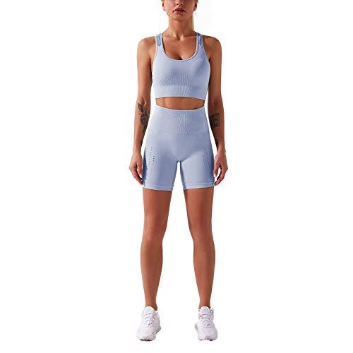 Loalirando Women's Yoga Fitness Jogging Set Summer Seamless Padded Tank Top + High Waist Shorts - Blue - S