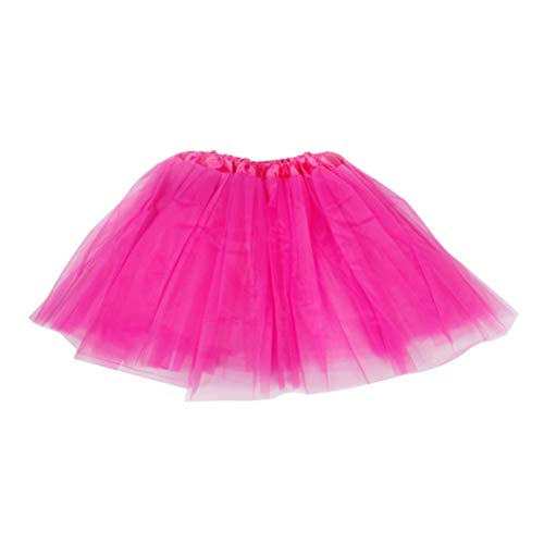 TENDYCOCO Women Tutu Skirt Ballet Layered Dress-up Princess Tulle for Performance Costume Prom Party-Rosy