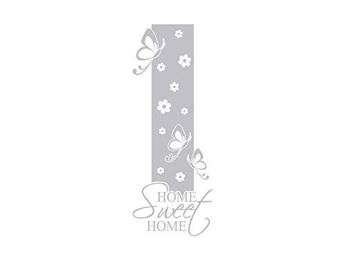 GRAZDesign Fenstertattoo Home Sweet Home mit Blumen, Fensteraufkleber Flur, Wohnzimmer, Folie für Glastür / 79x30cm