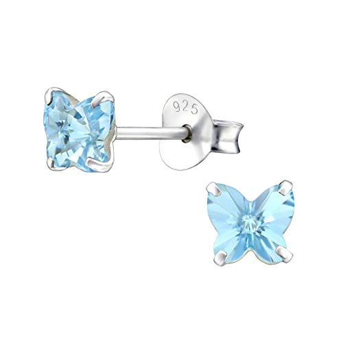 925 Sterling Silver with Crystals from Swarovski small butterfly stud earrings women 5mm in various sparkly colours anti allergy hypoallergenic nickel free jewellery ladies sensitive ears (Aquamarine)