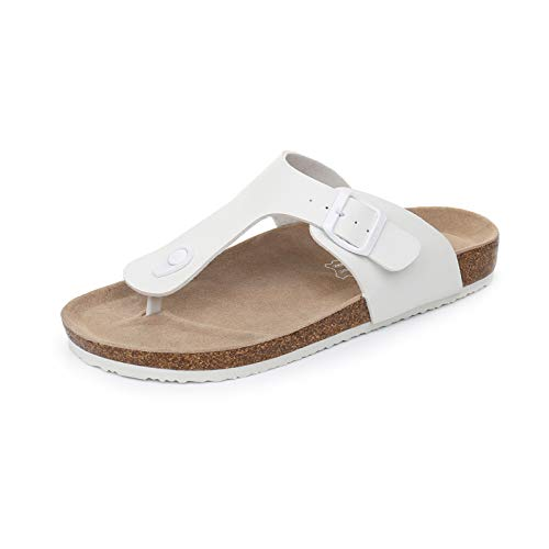 WTW Women Gizeh Thong Flip-Flops Cork Sandals Platform Footbed for Ladies (White, numeric_10)