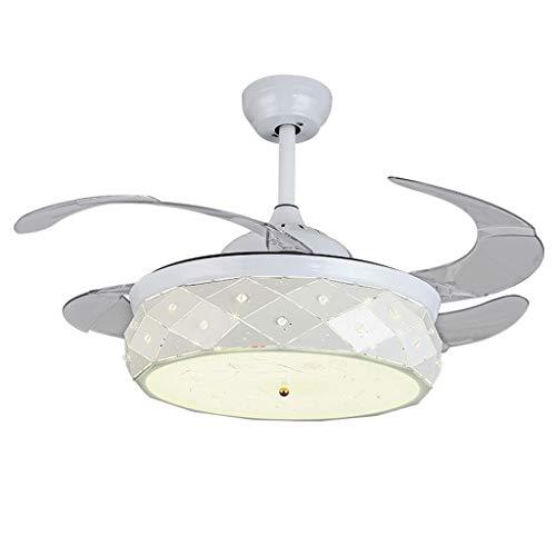 Iluminación de interior Moderno Invisible ABS Hoja Led Ventiladores de Techo Comedor Metal Blanco Led Ventilador de Techo Dormitorio Ventilador de Techo Regulable Luces Ventiladores para el te