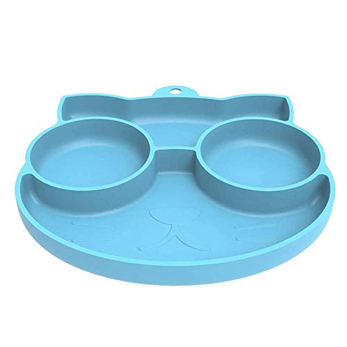 Bdesign Baby-Silikon-Platzdeckchen, rutschfeste Futterplatte for Kleinkinder Babys Kinder mit starken SOG geeignet for die meisten Hochstühle Tabletts, Spülmaschine und Mikrowelle (Color : Blue)