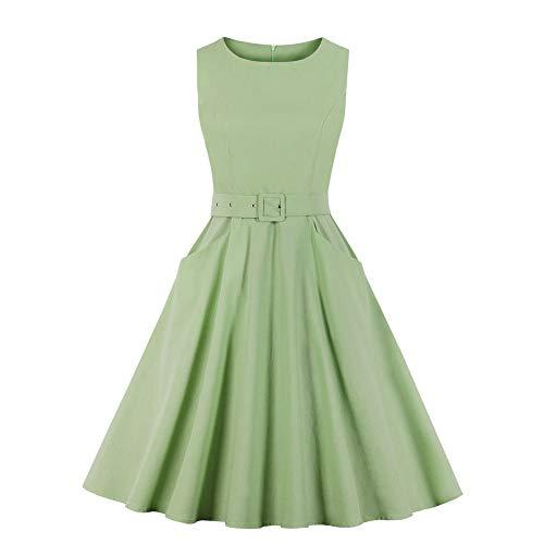 pridesong Ärmelloses einfarbiges Retro-Kleid mit großem Kleid für Damen Hellgrün S