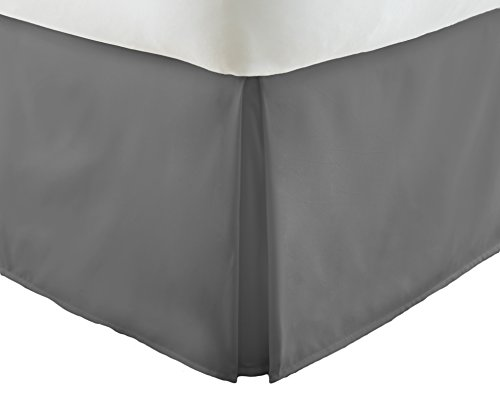 ienjoy Home Premium Pleated Dust Ruffle Bed Skirt, Gray, XX-Large