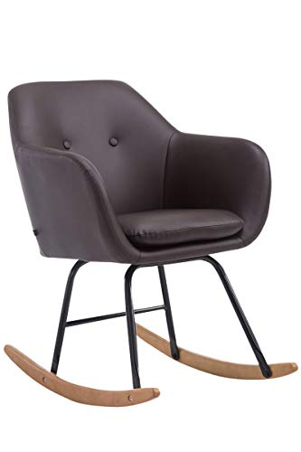 CLP Schaukelstuhl Avalon, Kunstleder-Sitz, Schaukelsessel mit Metall-Gestell, Relaxsessel mit Holzkufen, Farbe:braun