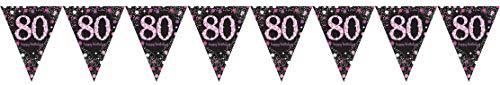Amscan 9901748 wimpelketting roze celebration 80 jaar