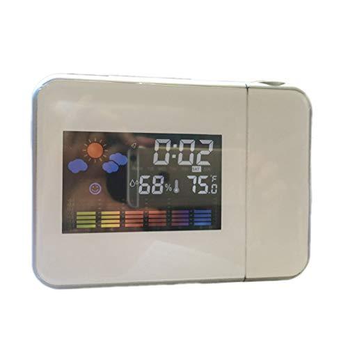 Pantalla LED a Color Pronóstico del Tiempo Proyección Despertador Reloj electrónico Blanco