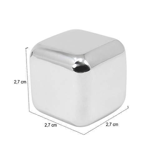 com-four® 18x Edelstahl-Eiswürfel, hochwertige Whisky-Steine, wiederverwendbare Eiswürfelform, Kühlsteine für Whiskey, Wein, Gin & Tonic-Getränke (18 Stück) - 5