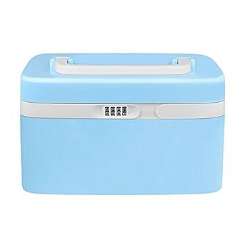 eoere Medicine Box with Combination Lock Cabinet Separate Compartments Locking Prescription Pill Case Child Proof Plastic Storage Box Size 11 x 7.4 x 6.2 inches Blue