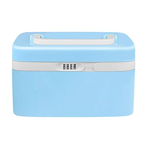 eoere Combination Lock Medicine Cabinet with Separate Compartments,Locking Prescription Pill Case,Child Proof Plastic Storage Box, Size 11 x 7.4 x 6.2 inches, Blue
