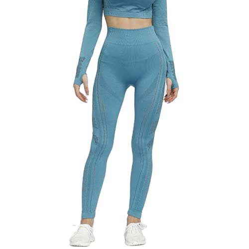 QTJY Leggings Deportivos de Fitness para Mujer, Pantalones de Yoga con Cintura Alta y Levantamiento de Caderas, Leggings sin Costuras con Flexiones de Gimnasia CM