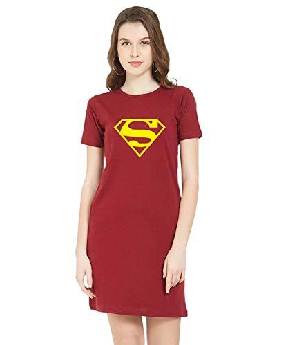 Caseria Women's Cotton Biowash Graphic Printed T-Shirt Dress – Sup.Man Pattern