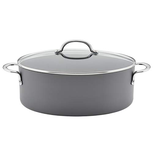 Rachael Ray 80090 Professional Hard Anodized Nonstick Cookware Oval Pasta Pot / Braiser, 8 Quart - Gray