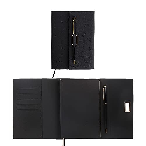 Libretas Bonitas Cuaderno Forro Diary Girl A5 Notebook Diario De Cuero De PU Horario Hecho A Mano Plan De Tapa Dura Libro Y Bloc De Notas (Color : Black)