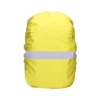 TAHUAON Housse de pluie pour sac à dos avec bande réfléchissante imperméable (210t jaune fluo 20 l (pour 15-25 l)