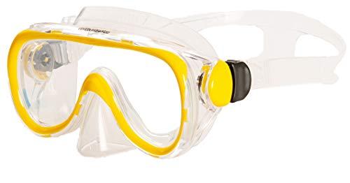AQUAZON Dolphin Junior Medium Schnorchelbrille, Taucherbrille, Schwimmbrille, Tauchmaske für Kinder, Jugendliche von 7-14 Jahren, Tempered Glas, sehr robust, tolle Paßform, Farbe:gelb