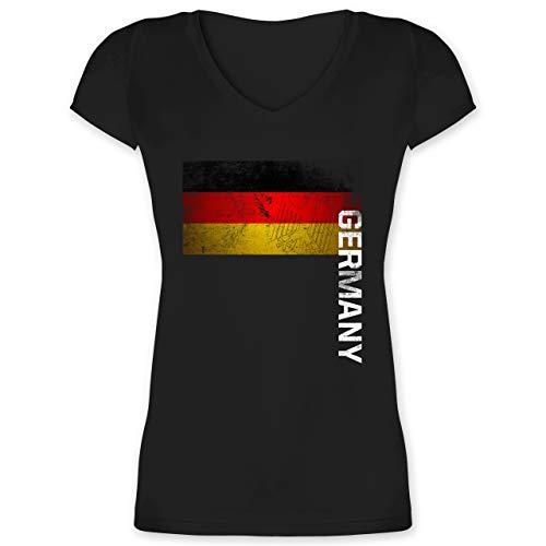 Fußball-Europameisterschaft 2021 - Deutschland Flagge Adler Vintage Germany - L - Schwarz - Damen Deutschland Shirt mit v Ausschnitt - XO1525 - Damen T-Shirt mit V-Ausschnitt