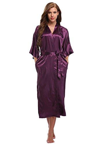 Kimono Art Women's Long Satin Kimono Robes for Bride and Bridesmaids Purple XL