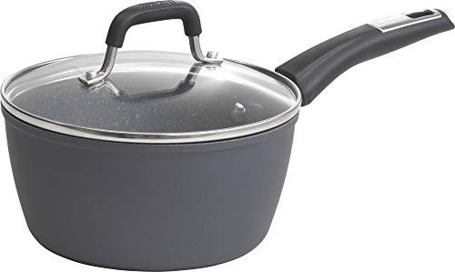 Bialetti Impact, 07557, textured nonstick surface, oil distribution,2 quart sauce pan, gray