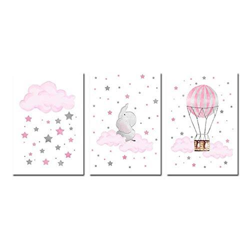 Niños Cartel Nube Globo Bebé Vivero Arte de la pared Impresión en lienzo Pintura Imagen decorativa Niño Niña Dormitorio Decoración-50x70cm Sin marco