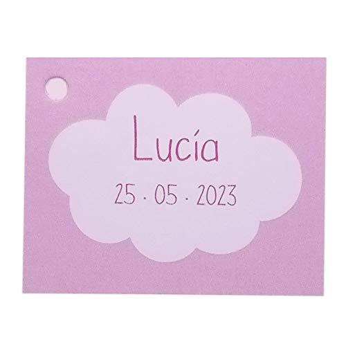 Etiqueta para detalle de Bautizo o Baby Shower nubes color rosa. Pack 25 udes. Detalles de Bautizo.
