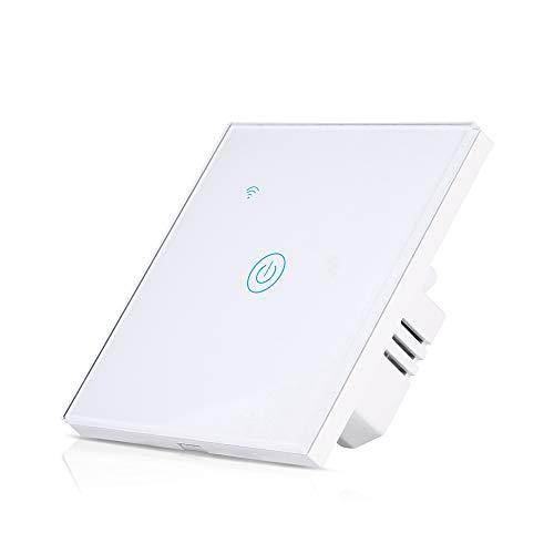Interruptor de luz WiFi de Teekar Voice App Control Smart Wall Interruptor de luz compatible con Alexa y Google Home, conexión inalámbrica Smart Switch con pantalla táctil sensible