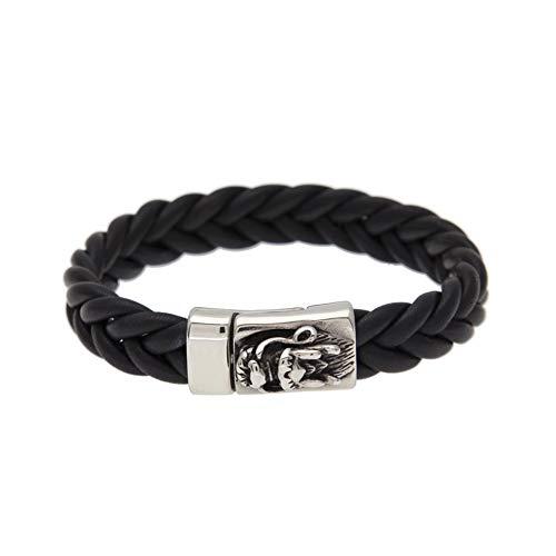 Rap schmuck hip hop New Rock hip hop Mode Herren Wasserhahn Stereo Schnalle lammfell Armband (schwarz),Bracelet