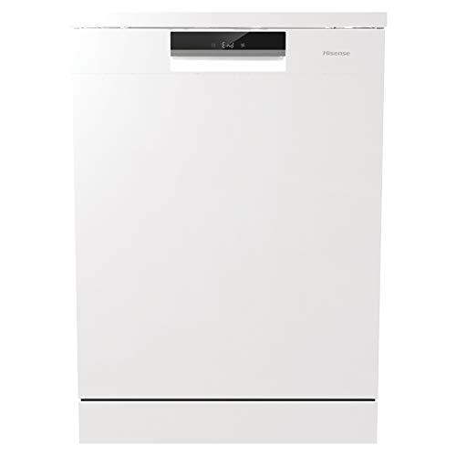 Hisense HS6130W - Lavavajillas, Capacidad para 16 servicios, 3 bandeja, de 60 cm, 5 Programas, bajo nivel sonoro, Filtro autolimpiable, Contador digital con programa Ecológico, Color Blanco