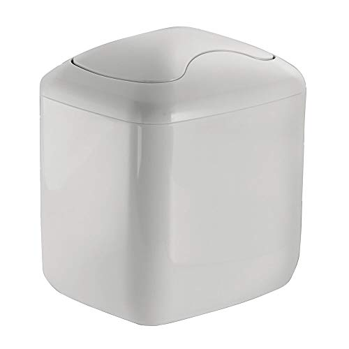 mDesign Cubo de Basura - Contenedor Basura de plástico Color Gris Claro con 2,7 litros de Capacidad - Ideal para la Cocina, baño o como Papelera Oficina