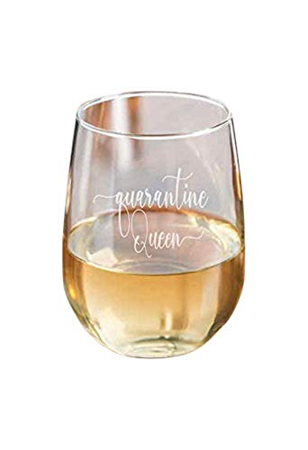 Quarantine Queen Stemless Wine Glass Essential- 15 oz