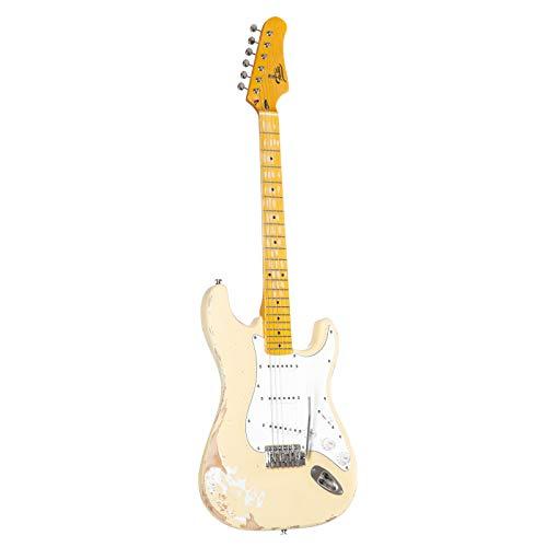 Fame E-Gitarre im ST-Stil mit Erle-Korpus, Keramik Single Coil, Worn Out Gelb, Vintage Style