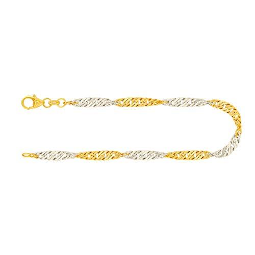 Feines Armband Damen Echt Gold 2,4 mm, Singapurkette aus 585 Bicolor, Goldarmband mit Stempel und Karabinerverschluss, Länge 21 cm, Gewicht ca. 2,4 g, Made in Germany
