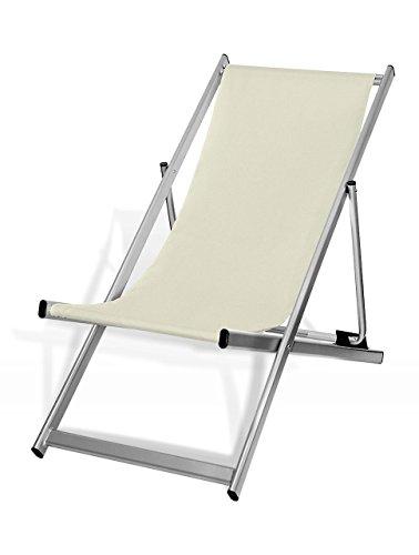MultiBrands Liegestuhl, klappbar, Aluminium, Sitzbezug Naturweiß, Silber lackiert
