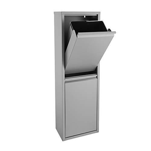 SVITA V2X15 Mülleimer grau 30 Liter (2 x 15L) Abfallsammler Abfalleimer Mülltrennung vertikal Ordnung universal Kücken-Eimer