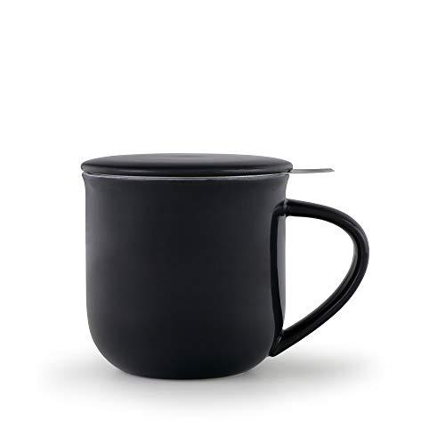 VIVA scandinavia Porzellan Tee-Tasse mit Teesieb für losen Tee und Deckel, Kaffee-Becher mit Henkel, 0,35 Liter, dunkel Blau
