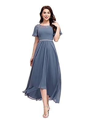 Ever-Pretty Women's Elegant A-line Short Sleeve High Low Chiffon Midi Bridesmaid Dress Dusty Blue US4