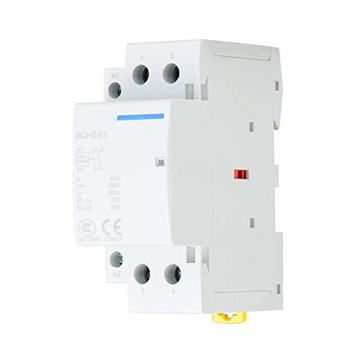 Contactor AC con uso doméstico superior, AC 24 V, AC 220 V/230 V (500 Vac 250 Vac harina guía DIN con plástico, metal