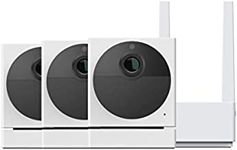Wyze Cam Outdoor Security Camera Bundle (Includes Base Station and 3 Cams), 1080p HD Indoor/Outdoor Wire-Free Smart Home Cam with Night Vision, 2-Way Audio, Works with Alexa & Google - 3 Camera Kit