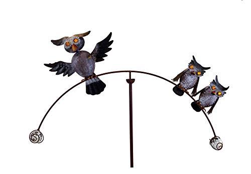 Amicaso Windspiel Eulenfamilie Gartendeko Gartenpendel Metall Höhe ca. 130cm