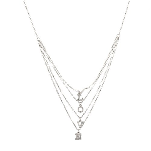Lux Accessories Pave Love Multi Row Chain Word Necklace.