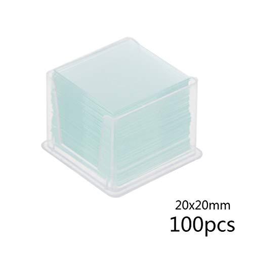 BIlinli 100 Stücke Transparentes Quadrat Objektträger Deckgläser Deckgläser Für Mikroskop Optisches Instrument