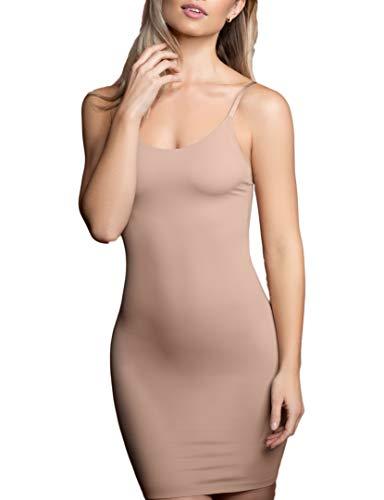 Onzichtbare bodyshaping onderjurk, Licht corrigerende onderjurk, naadloze shapewear, bodycon jurk met verstelbare bandjes, huidskleur en zwart, S-XL