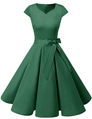 Dresstells Dresstells Damen Vintage 50er Cap Sleeves Rockabilly Swing Kleider Retro Hepburn Stil Cocktailkleid Green 2XL