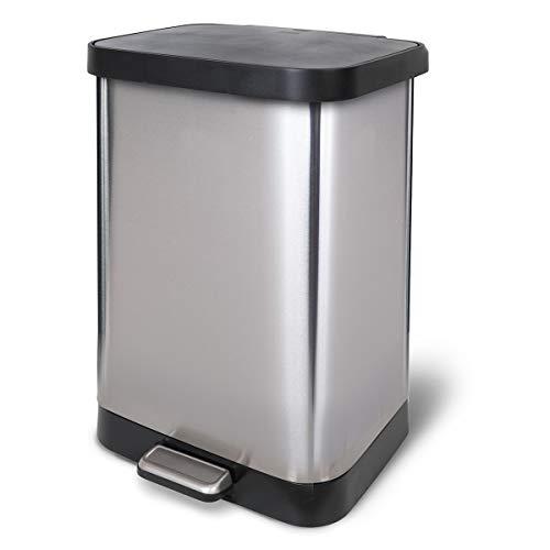 Glad - Papelera de acero inoxidable de 13 galones con protección contra el olor Clorox de la tapa | se adapta a todas las bolsas de basura de 13 G