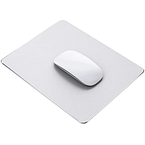 Metal Aluminum Mouse pad, Smooth Magical Ultra-Thin Hard Mouse pad for Office and Games, Double-Sided Waterproof, Fast and Precise Control of Laptop and Personal Computer Metal Mouse pad(Silver