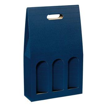 10 Stück Geschenkkarton Tragekarton Dekowell Saphir (blau) für DREI Flaschen